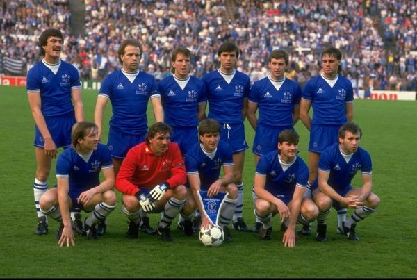 15 May 1985: The Everton team pose for a photograph before the European Cup Winners Cup Final against Rapid Vienna at the Feyenoord Stadium in Rotterdam, Netherlands. Everton won the match 3-1. Mandatory Credit: David Cannon/Allsport