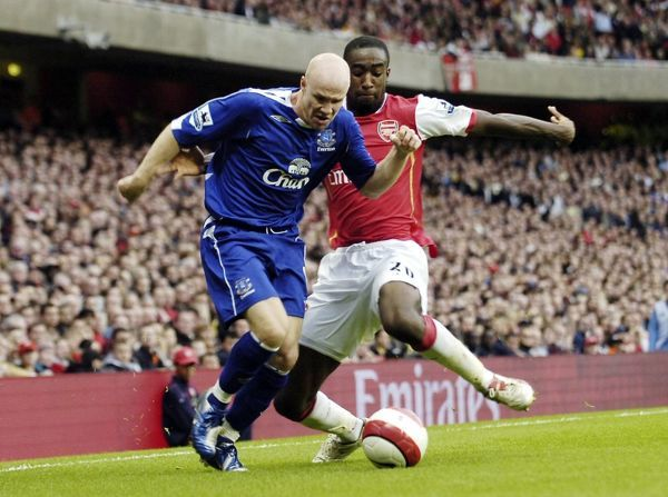 Arsenal v Everton 28/10/06 Arsenal's Johan Djourou and Everton's Andy Johnson