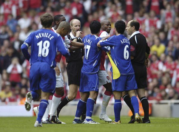 Arsenal v Everton Arsenal's William Gallas and Everton's Mikel Arteta scuffle during the game