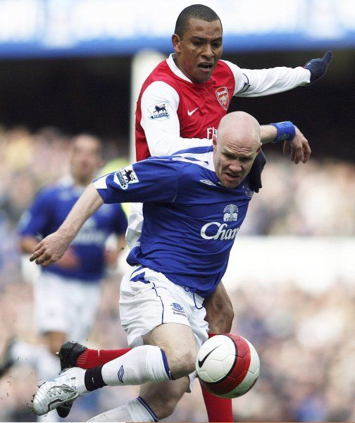 Everton v Arsenal Andrew Johnson and Gilberto Silva