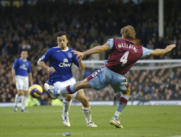 Everton v Aston Villa Simon Davies in action against Olof Mellberg