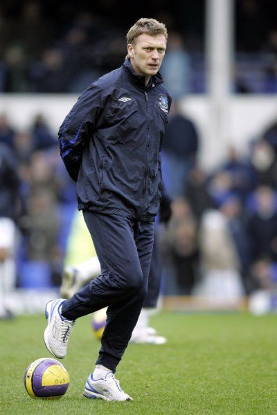Everton v Blackburn Rovers David Moyes during the warm up