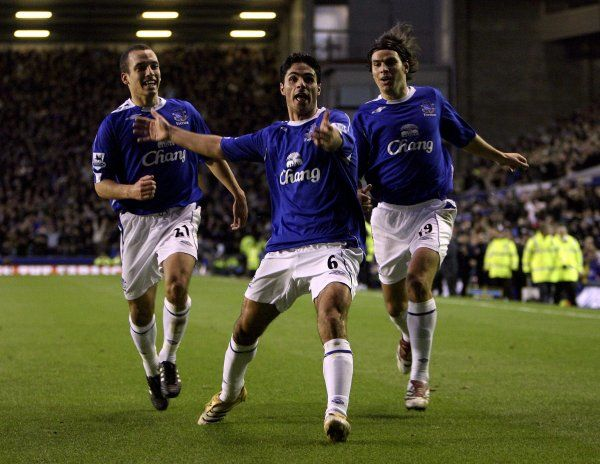 Everton v Bolton - Mikel Arteta celebrates after scoring the only goal of the game
