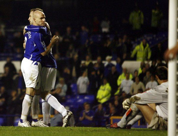 Everton v Luton Town - Goodison Park - 24/10/06 Everton's Andy Johnson is congratulated after Luton Town's Keith Keane scored an own goal