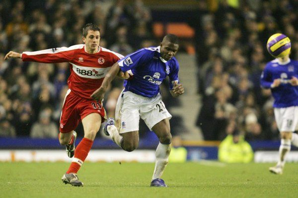 Everton v Middlesbrough Victor Anichebe in action with Middlesborough's Andrew Taylor