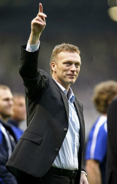 Everton manager David Moyes celebrates at the end