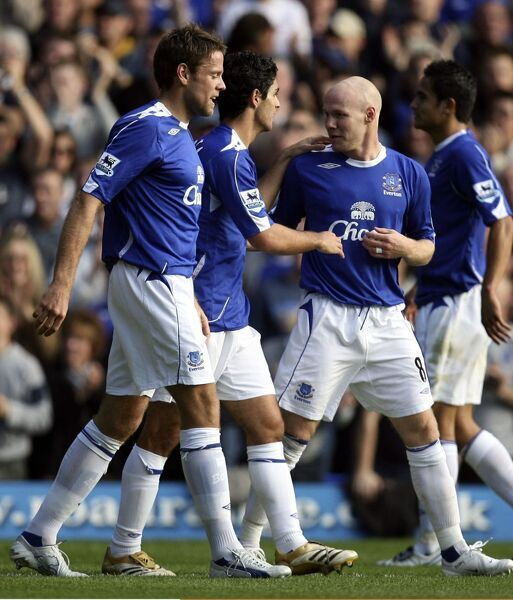 Everton v Sheffield United - 21/10/06 Mikel Arteta celebrates scoring the first goal for Everton with Andrew Johnson