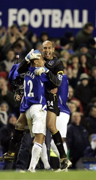 Everton's James Vaughan celebrates with keeper Tim Howard at the final whistle