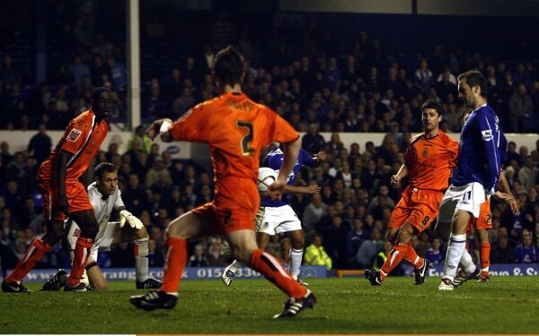 Football - Everton v Luton Town -Goodison Park - 24/10/06 Everton's James McFadden scores the third goal against Luton Town