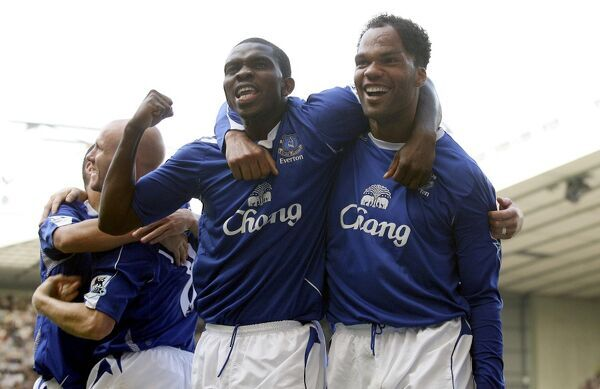 Yobo and Lescott celebrate Everton's opener