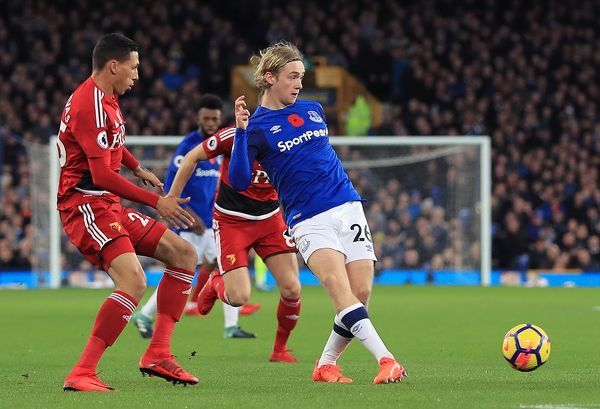 Everton's Tom Davies during the Premier League match at Goodison Park, Liverpool