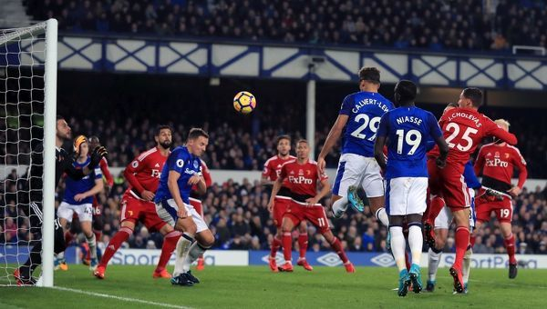 Everton's Dominic Calvert-Lewin scores his side's second goal of the game during the Premier League match at Goodison Park, Liverpool