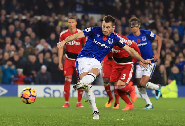 Everton's Leighton Baines scores his side's third goal of the game from the penalty spot during the Premier League match at Goodison Park, Liverpool