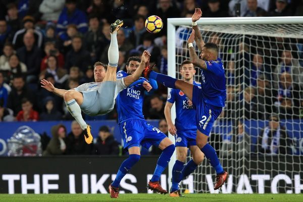 Everton's Phil Jagielka attempts an overhead kick during the Premier League match at the King Power Stadium, Leicester