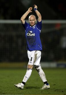 Andrew Johnson of Everton applauds the travelling fans
