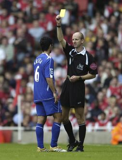 Arsenal v Everton 28/10/06 Everton's Mikel Arteta is booked by referee Mike Riley