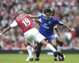 Arsenal v Everton Arsenal's Gilberto Silva and Everton's Tim Cahill in action