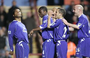 Aston Villa v Everton FA Everton's Joleon Lescott celebrates scoring with team mates