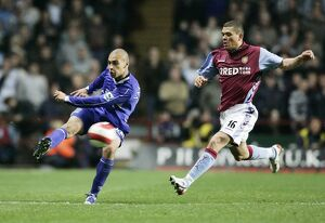 Aston Villa v Everton James Vaughan in action against Wilfred Bouma