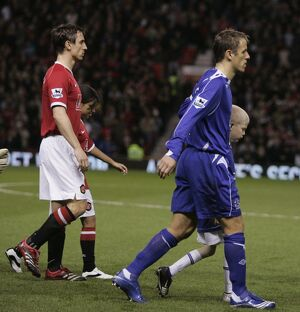 Brothers Neville and Neville lead out Manchester United and Everton