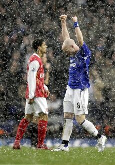Everton v Arsenal - Andrew Johnson celebrates at the end of the game