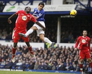 Everton v Blackburn Rovers Mikel Arteta gets a header on goal under pressure