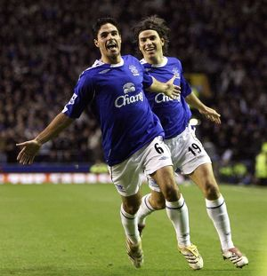 Everton v Bolton Wanderers - Mikel Arteta celebrates after scoring the only goal
