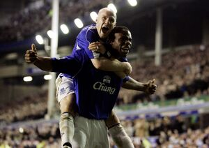 Everton v Fulham Victor Anichebe celebrates his goal with Andrew Johnson