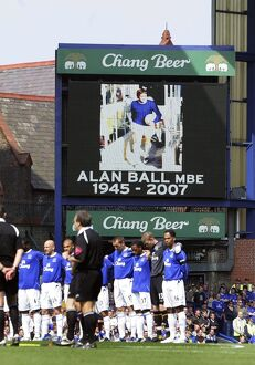 Everton v Manchester United The Everton team line up during a minutes silence for