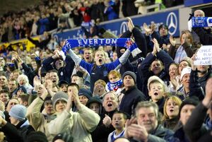 The Goodison crowd get behind their team.