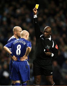 Manchester City v Everton - Andrew Johnson receives a yellow card from referee Uriah
