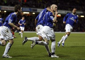 Watford v Everton - Andy Johnson celebrates after he scores Everton's second goal