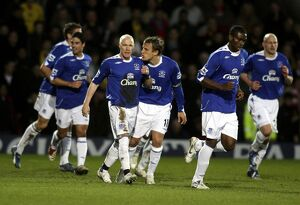Watford v Everton - Andy Johnson celebrates with Phil Neville after scoring the second