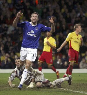 Watford v Everton - James Beattie after missing a easy chance