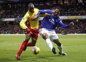 Watford v Everton Steve Kabba of Watford in action with Joleon Lescott