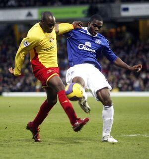 Watford v Everton Steve Kabba of Watford in action with Everton's Joseph Yobo
