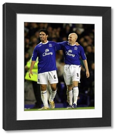 Everton v Bolton Everton's Andrew Johnson and Mikel Arteta celebrate