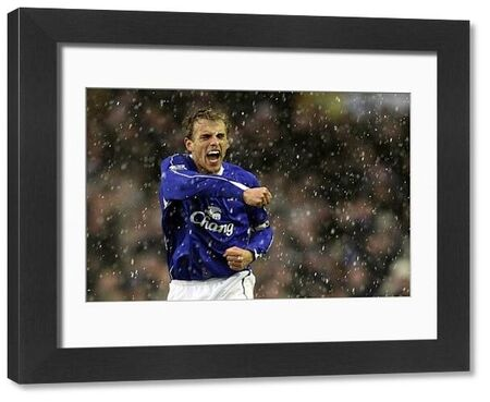 Everton v Arsenal  Phil Neville celebrates after Andrew Johnson