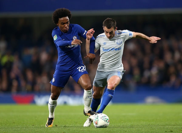 Chelsea's Willian (left) and Everton's Leighton Baines (right) battle for the ball during the Carabao Cup, Fourth Round match at Stamford Bridge, London. PRESS ASSOCIATION Photo. Picture date: Wednesday October 25, 2017. See PA story SOCCER Chelsea