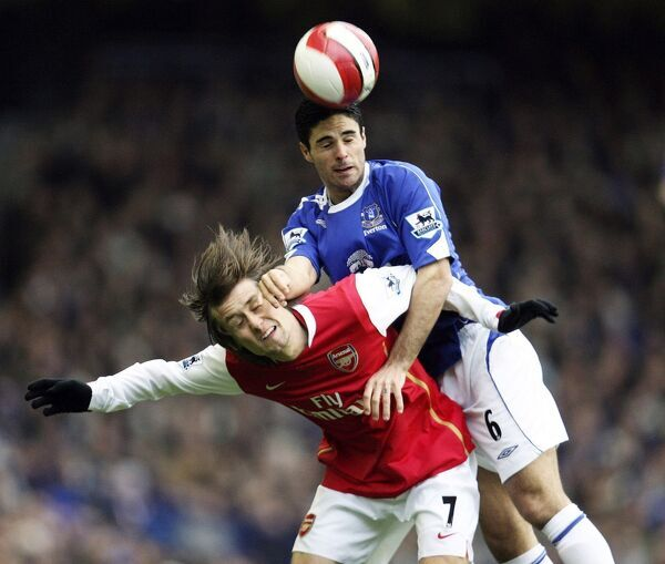Everton v Arsenal Mikel Arteta and Tomas Rosicky