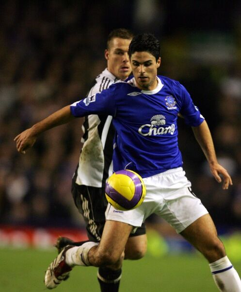 Everton v Newcastle United Mikel Arteta and Scott Parker