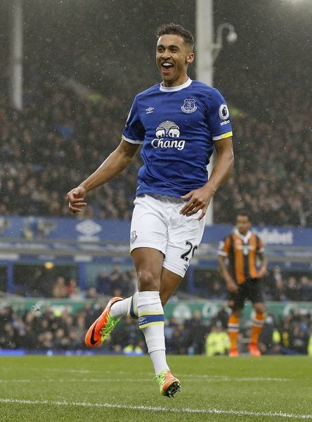 Everton's Dominic Calvert-Lewin celebrates scoring his side's first goal of the game during the Premier League match at Goodison Park, Liverpool