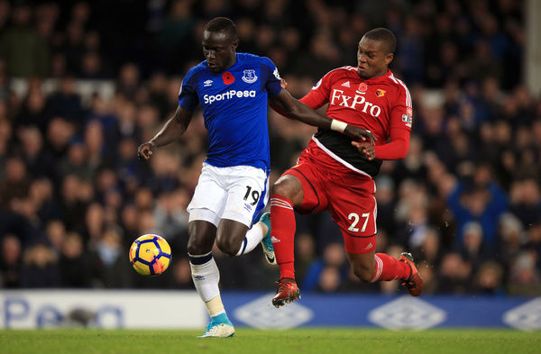 Everton's Oumar Niasse (left) and Watford's Christian Kabasele battle for the ball during the Premier League match at Goodison Park, Liverpool