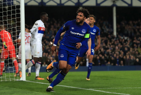 Everton's Ashley Williams celebrates scoring his side's first goal of the game during the UEFA Europa League, Group E match at Goodison Park, Liverpool