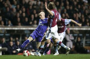 Aston Villa v Everton Andy Johnson in action against Olof Mellberg