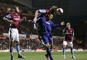 Aston Villa v Everton James Vaughan in action against Olof Mellberg