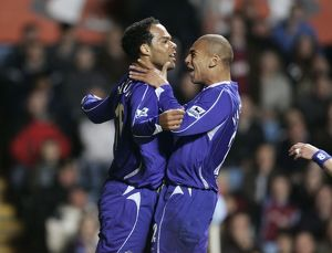 Aston Villa v Everton oleon Lescott celebrates scoring with team mate James Vaughan