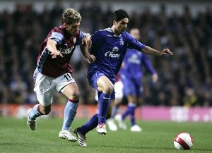 Aston Villa v Everton Stilian Petrov in action against Mikel Arteta