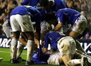 Everton v Newcastle United Phil Neville celebrates after scoring his teams third goal