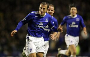 Everton v Newcastle United Phil Neville celebrates after scoring his teams third